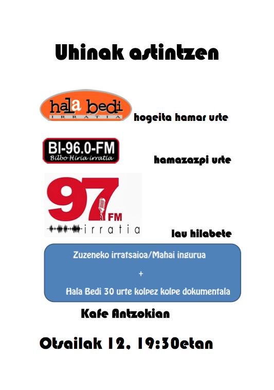 97FM irratia: Uhinak  astintzen.  Kafe  Antzokian.  Otsailak  12,  19:30etan