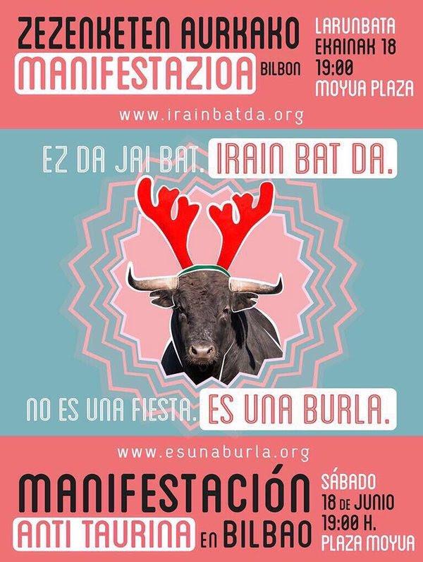 97FM irratia: Zezenketen aurkako manifestazioa Bilbon ekainaren 18an